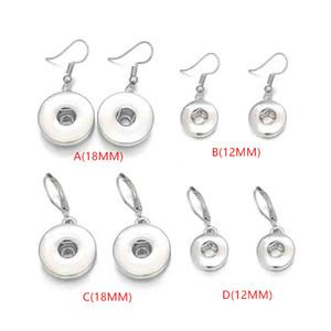 4 stilleri noosa parçaları gümüş kaplama snap düğmesi küpe 12mm 18mm snap düğmesi dangle küpe kadınlar için snap düğmesi takı