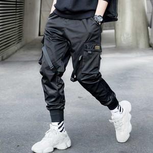 Hip Hop Lápiz Negro Pantalones Hombres Multi-bolsillo Streetwear Harem Joggers Pantalones 2019 Otoño Moda Hombre Pantalón de la cinta GM22