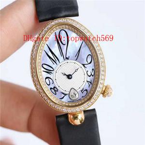 Nueva Reina de Nápoles 8918BR reloj del diamante del reloj para mujer Cal.537 / 3 mecánico automático de la madre-de-perla 18k de oro rosa Dial Zafiro Crysta