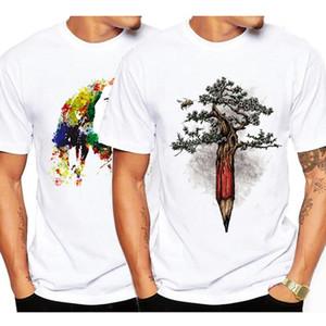 Lo nuevo de moda de verano árbol camiseta impresa de los hombres del diseño fresco de alta calidad Crew cuello para hombre del diseñador de moda tapa de la camiseta de manga corta S-3XL