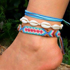 Handmade Woven Rope Vsco Shell Foot Anklet Ankle Barefoot Bracelet Friendship Anklets for Women Bohemian Beach Boho Leg Jewelry Wholesale
