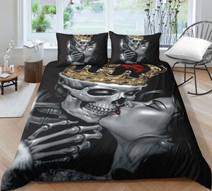Fashion 3D skull printing Bedding set with pillowcases set single double queen king size