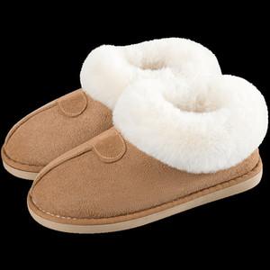 Carregadores das mulheres sapatos calçados sapatos de inverno Além disso Fur Slides de costura plana para a menina Plush Suede manter aquecido mulheres Casual-de-rosa
