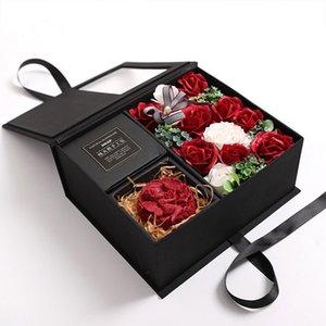 San Valentín Perfumado Jabón Artificial Rose Bathable Angel Rose Caja de Regalo Boda Cumpleaños Novia Romántico Fragante Pétalos Flores C18112601
