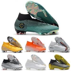 2019 Mercurial Superfly VI 360 Elite FG KJ 6 XII 12 كرة القدم المرابط رجل إمرأة نيمار CR7 أحذية عالية لكرة القدم أحذية 35-45