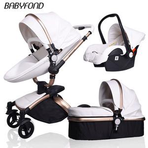 Nouveau-né 3 en 1 poussette Babyfond cadre en alliage à double sens pliable quatre roues en cuir pour bébé Pram aluminium carrinho de