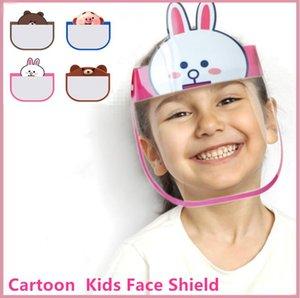DHL Ship 100 PCs Kid Cartoon Face Shield Transparent Protective Masks Dustproof Anti-Fog Full Face Shield Anti Dust PET Mask FY8037
