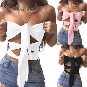 Сексуальные летние женщин повседневные топы жилет с плеча boob верхнюю часть пробки drawstring сплошной топы S-XL размер