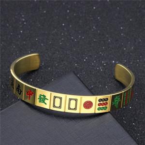 Men's women Mahjong Titanium steel bracelet Type C Opening wristband
