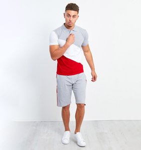 2020 New Men's Striped Stitching Tracksuit Hip-hop Mens Muscle Workout Clothes European and American Style Men Polo Shirt Suit Size M-3XL