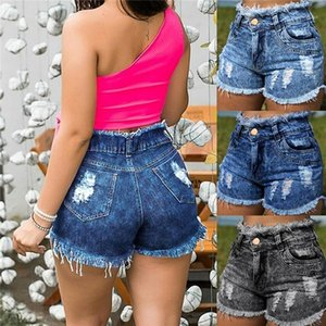 Pantalones cortos de verano Vintage Light Washed Casual Shorts Womens Designer Jeans Shorts Burr Holes Cintura alta