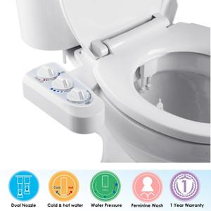 Non-elettrico Bidet per servizi igienici Self Cleaning doppio ugello di bidet attacco acqua calda e fredda Spray igienici kit Bidet spruzzatore con PressureTemp