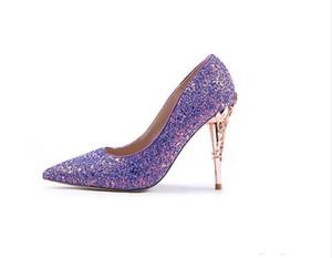 2020 Nouveau été de luxe haut talons Parti Chaussures de mariage Paillettes Prom Chaussures Femme élégante Stilettos pompes Chaussures fille Accessoires de mariée