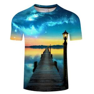 패션은 블루 남성 티셔츠 3 차원 t- 셔츠 블랙 티 캐주얼 최고의 애니메이션 Camiseta Streatwear 짧은 소매 천 아시아 크기 6XL T - 셔츠 불타는 적색 리드