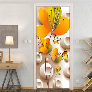 3D Stereoscopic Butterfly Flower Living Room Bedroom Home Decoration Door Sticker Modern PVC Waterproof Wall Wallpaper Stickers