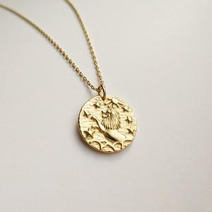 moda de luxo design de prata 925 colar de sinal colar de Leo do zodíaco para mulheres e homens como presente do Dia do Pai presente do dia presente de aniversário da mãe