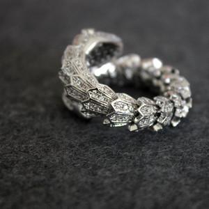 Snake-Diamant-Ring Frauen öffnen Tier Designer Luxus Silber Ringe Hochzeit Fine Jewelry Free Size