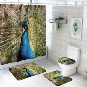 4 Pcs / Set 3D Paon Modèle Salle De Bains Tapis De Sol U En Forme De Tapis Couverture De Toilette Imperméable Rideau De Douche avec 12 Crochets