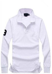 Heißer Verkauf Marke 2019 Männer großes Pferd Krokodil Stickerei Poloshirt qulity Polos Männer Baumwolle Langarm Shirt S-Ports Trikots Größe M-4XL
