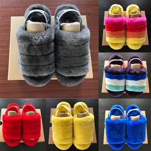 Las mujeres Pelusa Sí flip flop Diseñador de diapositivas de verano cubierta Pantoufle peludo zapatillas de moda de lujo de las mujeres del deslizador de las sandalias Fuzzslide