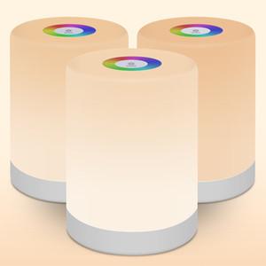 القابلة لإعادة الشحن الذكية LED ليلة التحكم باللمس الضوء الخافت التعريفي الذكي مصباح السرير عكس الضوء RGB تغيير اللون مع هوك
