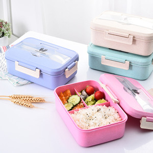 Outdoor Camping Picnic Fruit Storage Tableware Lunch Boxes 3 Grid Wheat Straw Lunch Box Student Health Portable Food Storage Box