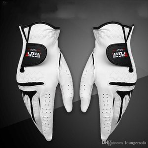 Men Left Right Hand Sheepskin Glove With Anti Slip Granules Genuine Leather Golf Gloves Soft Breathable Sports Accessories White 28xs UU