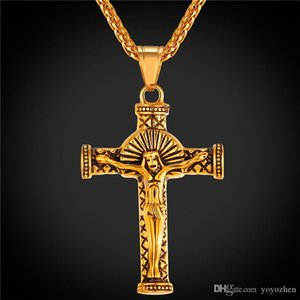 Vintage Crucifix Cross Necklace Pendant 18K Real Gold Plated Jesus Piece Jewelry Mens Stainless Steel Cross