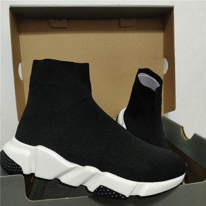 2020 Designer Sneakers Speed Clearsole Black Jacquard Knit White Black Graffiti Sole Flat Sock Boots Casual Shoes Speed Trainer Runner NEW