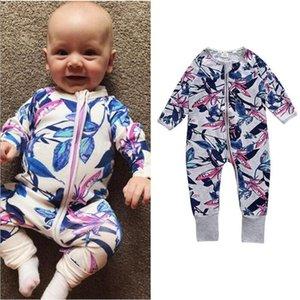 2019 Sonbahar Kış Erkek Bebek Kız Romper Giysileri Noel Bebek Yenidoğan Baskı Çiçek Pamuk Polar Tulum Çocuk Yürüyor Giyim