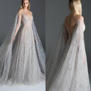 2020 Paolo Sebastian robes de soirée Illusion broderie de dentelle Sheer cou Une ligne de fée robe de bal avec Wrap Party Custom Made Formal Robes