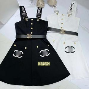 las mujeres alta gama chica denim bordado de la letra vestido de la correa única falda de bolsillo de pecho casual con la correa 2020 vestido suelto de diseño de moda de lujo