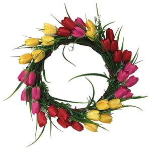 Artificial Hanging Tulip Wreath Simulation Flowers Garland Decoration for Wall Door Showcase