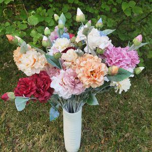 wholesale artificial peony flower Wedding home decorwhite pink peony head silk artificial peony Dahlia flower bouquet