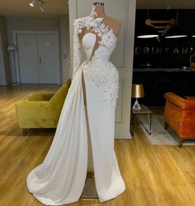 2020 Arabic Dubai Lace White Prom Dresses High Neck One Shoulder Long Sleeves Formal Evening Gowns Side Split Party Dress