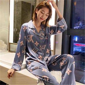 Женская Весна Осень Лето лед шелк печатный LetterL / G пижамы дамы домашний сервис костюм из двух частей Бесплатная доставка
