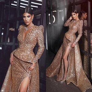 Magníficos vestidos de noche de manga larga con lentejuelas doradas Ranura delantera 2019 Sirena Vestidos de baile Vestidos de madre de la novia