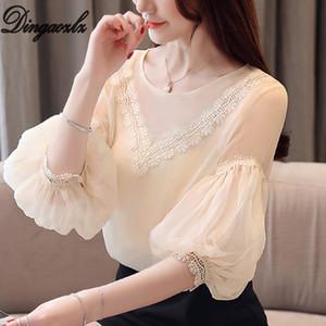Dingaozlz Yaz Kadın gömlek 2019 Yeni Beyaz şifon bluz Kadın Patchwork Fener Kol Dantel Üst blusa