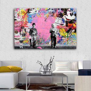 Einstein Chaplin Kunst Wall Street Graffiti-Kunst Banksy Wohnkultur Handbemalte HD-Druck Ölgemälde auf Leinwand-Wand-Kunst Bilder 200120