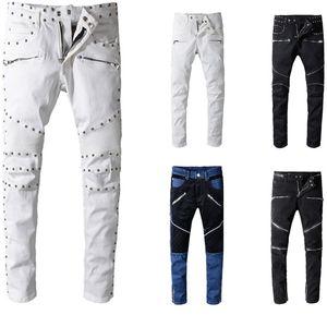 Balma erkek Sıkıntılı Ripped Biker Jeans Slim Fit Erkekler Için Motosiklet Biker Denim Marka Tasarımcısı Hip Hop Erkek Kot ABD Boyutu 29 ~ 42