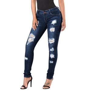 2020 botón Nuevo Negro Jeans Mujer de la alta manera de la cintura de la cremallera agujero ciego pantalones vaqueros rotos flaca delgada dril de algodón Casual Femme