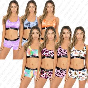 Abiti Le donne costume da bagno push-up carro armato della maglia tie-dye farfalla Bra + Shorts Nuoto Facendo il bagno 2 pezzi Bikini Beach Swimwear D42805