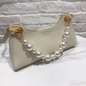 2020 The New Lizard Grain Baguette Bag with Pearl Chain Underarm Bag Design Sense Niche Leather Shoulder Messenger Handbag