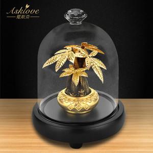 Asklove Fortune Ağacı toplayın Servet Süsleme 24K Altın Folyo Crafts Fengshui dekor Şanslı Para Ağacı Bonsai Ev Ofis Dekorasyon T200619