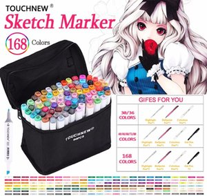 TOUCHNEW 30 40 60 80 168 Colors Art Markers Set Oily Alcohol Double Headed Sketch Markers Pen Professional Design For Manga Draw