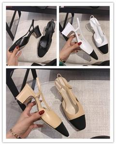Designer Goatskin Women Catwalk Chunky Heel Slingbacks Sandali Mules Beige Bianco Nero Abito Matrimonio artigianali Single Shoes With box
