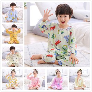 Baby Boys Girls 3 4 Sleeves Shirt Full Length Pants Pajama Sets Kids Home Wearing Air-conditioned Clothing Children Sleepwear Y200704