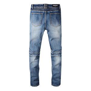 Balmain Trendy Herrenmode College Boys Skinny Runway Straight Zipper Jeans Destroyed Ripped Jeans Schwarz Weiß Rot Jeans Heißer Verkauf