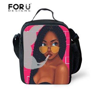 Çocuklar Siyah Sanat Afrikalı Amerikalı Kızlar lunchbag Çocuklar Fonksiyonel Meyve Çanta Storage için Termal Öğle Çanta FORUDESIGNS