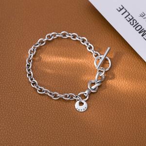 925 argent Sterling OT Clipe belle femme Pulseira rtro Vintage en forme de coeur rond Ins concepteur bijoux en argent T200422